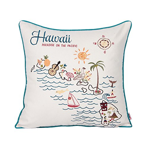 Queenie - 1 Pc City Scene Embroidery Cotton Linen Series II Decorative Pillowcase Throw Pillow Case Cushion Cover 18 X 18 Inch (45 X 45 Cm) (1, Hawaii)