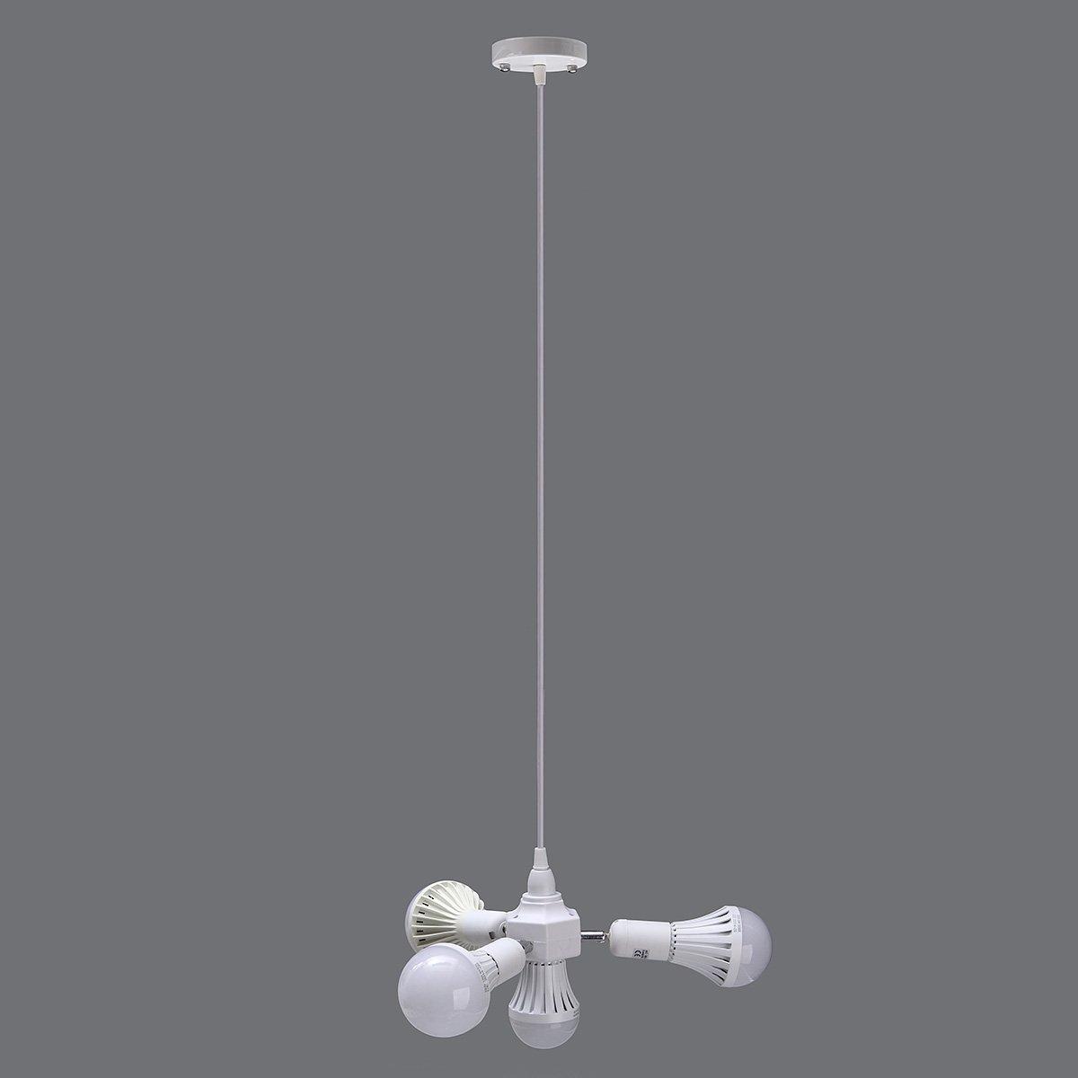 MAUBHYA 4 In 1 E27 Adjustable Socket Lamp Base Holder Ceiling Pendant Adapter AC100-240V