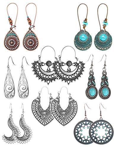 FUTTMI 8 Pairs Vintage Boho Earrings Geometric National Style Hollow Water Drop Heart Shaped Alloy Long Pendant Earrings Turquoise Earrings for Women Girls (Vintage Style Earrings)