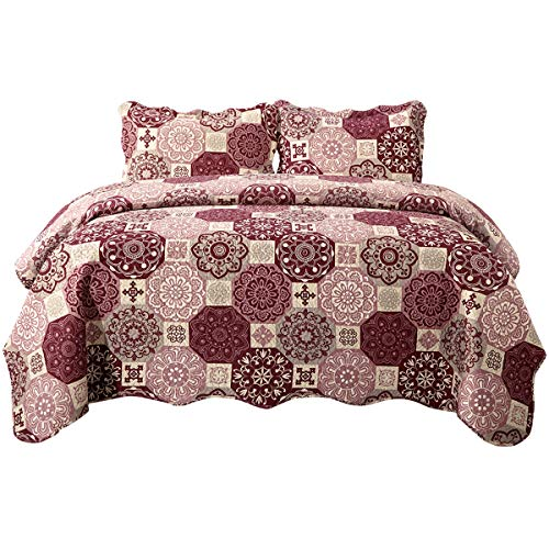 HollyHOME Bedspread Twin Size with Print Design, Lightweight Hypoallergenic Microfiber Bed Quilt Coverlet -Purple