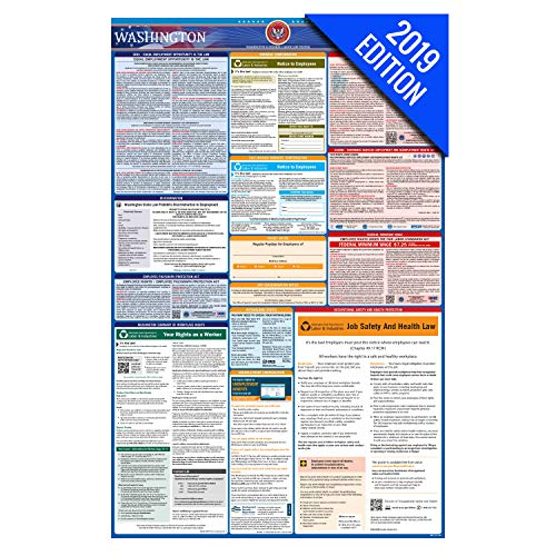(2019 Washington Labor Law Poster – State, Federal, OSHA Compliant – Laminated Mandatory All in One Poster)