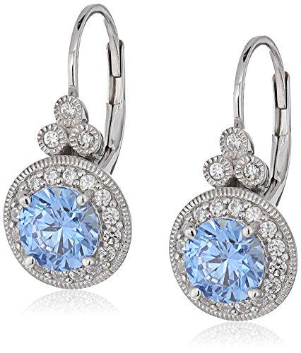 Platinum-Plated Sterling Silver Swarovski Zirconia Fancy Blue Antique Drop Earrings