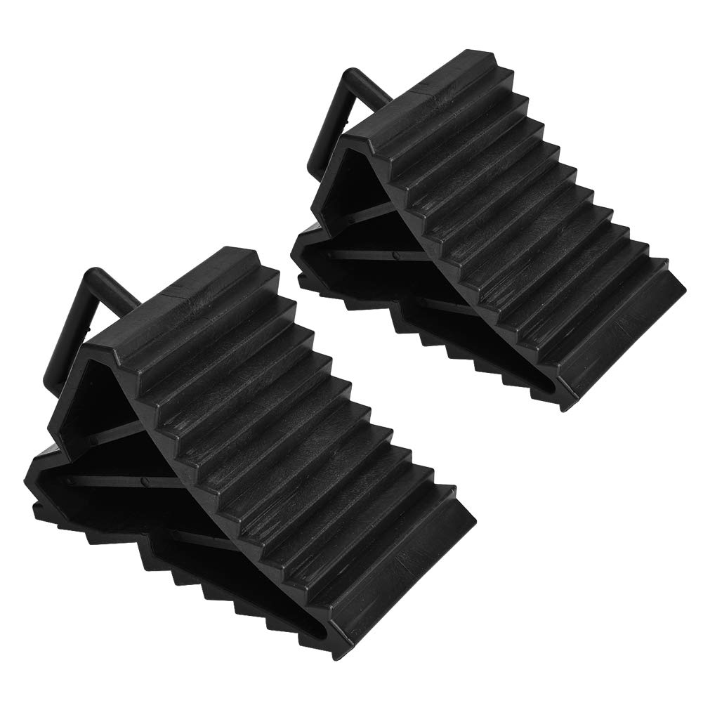 2 pcs Car Wheel Chocks Rubber Reversing Slip Pads Stoppers Black