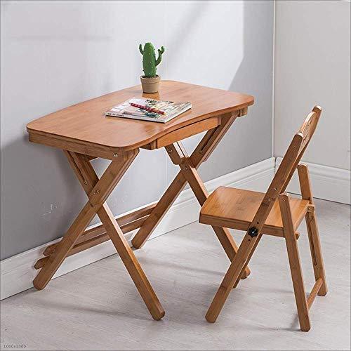 BH Mesas Pupil Escritorio Escritorio se Puede Subir y Bajar Escritorio Escritorio Plegable de bambu (Color: 90b + 60 Silla)