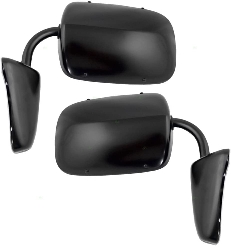 Pair of Manual Side View Black Steel Low Mount Mirrors Replacement for GMC Chevrolet Pickup Truck SUV Van 996219 AutoAndArt
