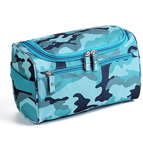 MODARANI Hanging Toiletry Kit Flat Camouflage Blue Travel Accessary Bag Personal Makeup Organizer Case
