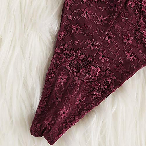 Women's Lace Hollow Lingerie Sexy Underwear Soft Flower Strap Bralette Bra and Panty Lingerie 2 Piece Set (L, Wine) by Moxiu (Image #4)