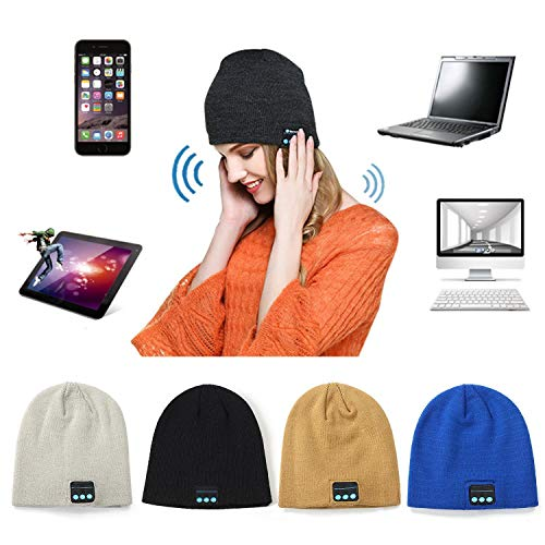 Todens Unisex Bluetooth Wireless Headset Music Beanie Knit Hat with Speakers and Mic
