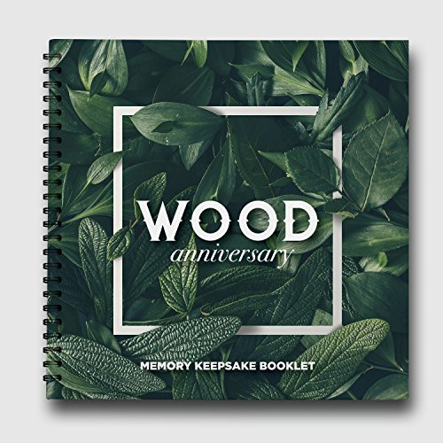 5 Year Wood Anniversary Gift 2013 - 2018 Wedding Present for Couples. Our 5th Year Together, Keepsake Memory Book and Photo Album Gift for Him with Floral and Wooden Nature Backgrounds by Pillow and T