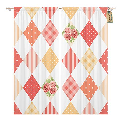 Golee Window Curtain Cute Vintage Pattern As Patchwork in Shabby Chic Curtains Home Decor Rod Pocket Drapes 2 Panels Curtain 104 x 84 - Shabby Curtains Patchwork