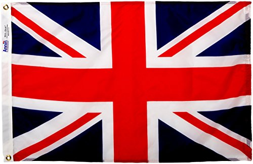 Annin Flagmakers Model 198890 United Kingdom Flag Nylon SolarGuard NYL-Glo, 2x3 ft, 100% Made in USA to Official Nations Design Specifications
