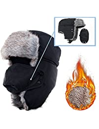 Winter Trapper Hat With Ear Flap and Chin Strap and Faux Fur, AYAMAYA Ushanka Russian Style Windproof Mask Trooper Hat for Boys/Girls/Men/Women -Fit For 21.5 inches to 24 inches Head Circumference