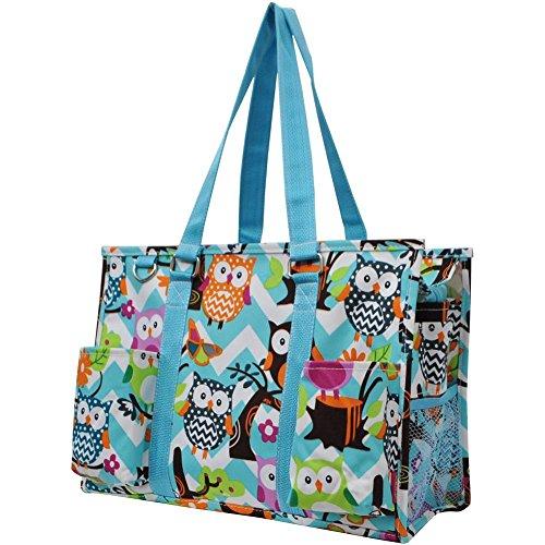 N Gil All Purpose Organizer Medium Utility Tote Bag (Chevron Owl Aqua/Aqua) -