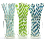 Beach Destination Wedding Straws (75 Pack) - Ocean Water Swim Party Straws, Undersea Fish Birthday Party Straws, Green & Blue Striped Party Supplies