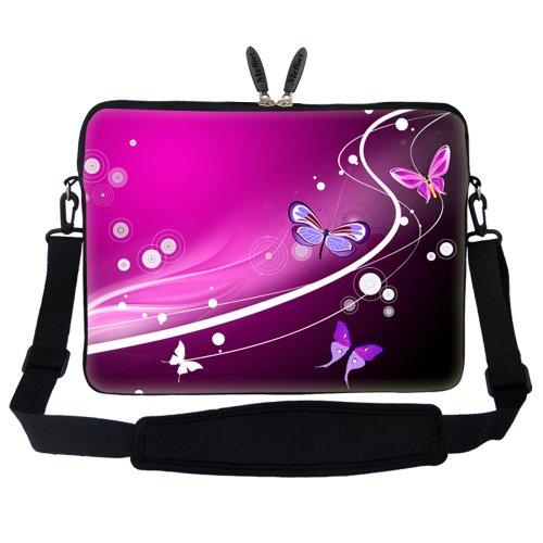 Computer Neoprene Mini Portable Laptop 15 and Carrying Butterfly Handle Case Shoulder Pink with 15 Hidden Strap Sleeve inch 6 Adjustable Bag tSHH1wq0
