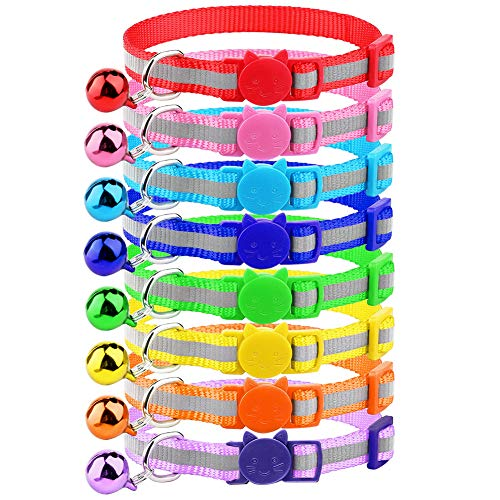 Milliepet 8 Pcs Cat Reflective Collars Breakaway with Bell Nylon Colorful Adjustable for Kitty
