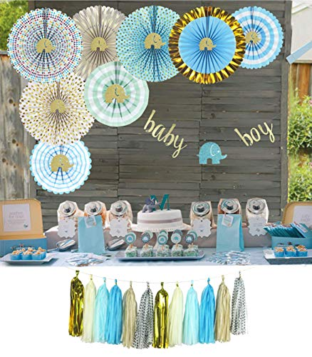 YARA Elephant Baby Shower Decorations for Boy| Blue