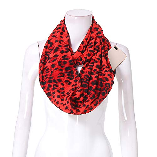 Women Infinity Scarf Soft Leopard Shawl Wrap Loop Scarf with White Zipper Pocket, Infinity Scarves (Multicolor -F, Free Size:180X50cm)