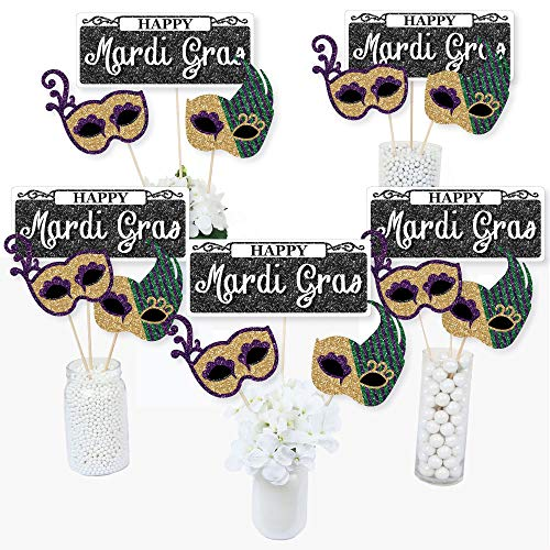 Mardi Gras - Masquerade Party Centerpiece Sticks - Table Toppers - Set of 15 -