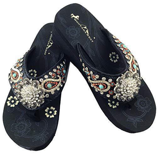 Montana West Flip Flop Sandals Hand Beaded Embroidered Studded (6B(M), Bk Paisley ()