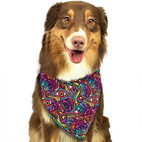 CWWJQ88 60s Hippie Psychedelic Art Pattern Pet Dog Bandana Triangle Bibs Scarf - Easy to Tie On Your Dogs & Cats Pets Animals - Comfortable and Stylish Pet Accessories -