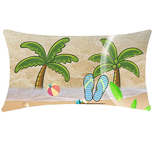 NIDITW Holiday Gift Tropical Plants Leaves Palm Trees Starfish Beach Ball Flip Flop Lumbar Waist Cotton Linen Cushion Cover Pillow Case Cover Home Chair Couch Outdoor Decor Oblong 12x20 inches ()