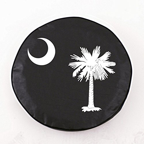 Holland Bar Stool South Carolina State Flag Tire Cover In Black - 32.25 Inch X 12 Inch