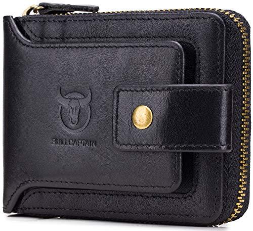 Men's Genuine Leather Wallet,RFID Blocking Zip Around Bifold Multi Purse Cowhide Leather Vintage Secure Card Holder with ID Window (Black)