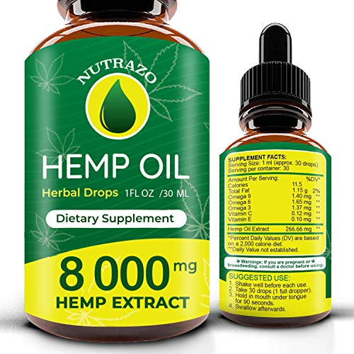 Hemp Oil Drops 8 000 mg, Co2 Extracted, Made in USA, Help Reduce Stress, Anxiety and Pain, 100% Natural Ingredients, Vegan Friendly, GMO Free