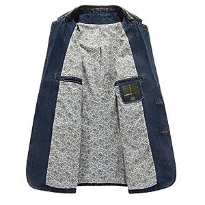 Men's 2 Buttons Denim Blazer Lapel Washed Denim Suit Jacket