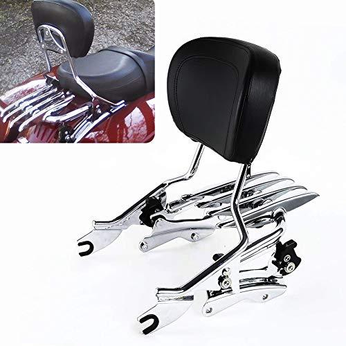 Detachable Chrome Passenger Backrest Sissy Bar w/Pad & 4-Point Docking Kit & Stealth Luggage Rack For 2014-2019 Harley Davidson Touring Electra Glide Road Glide Road King Street Glide ()