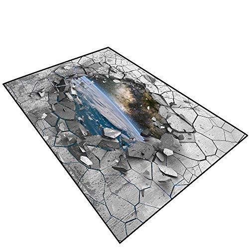 Price comparison product image Bathroom Floor Carpet 3D Effect Trap.Dark Cracked Broken Hole in Concrete Wall.094 (2) Photo Print Customize Door mats