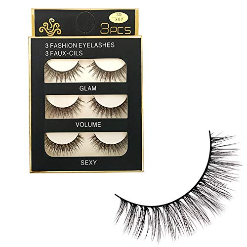 NewKelly Makeup 3D Natural Long Fake Eye Lashes Handmade Thick False Eyelashes Black