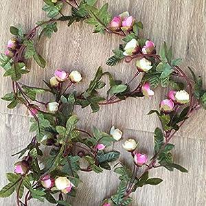 GSD2FF 2.2m Artificial Flower Vine Fake Silk Rose Flower Wedding Decoration Artificial Vines Hanging Garland Home Decor,6 19