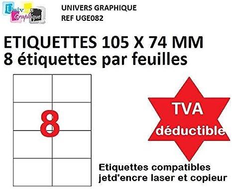 500 A4 hoja 8 pegatina 105 x 74 mm etiqueta de papel adhesivo ...