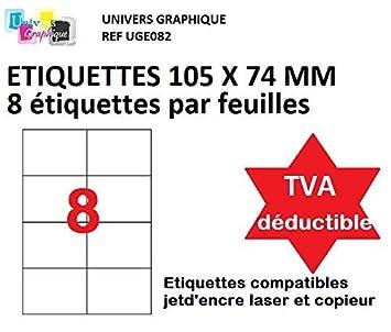 500 A4 hoja 8 pegatina 105 x 74 mm etiqueta de papel adhesivo para ...