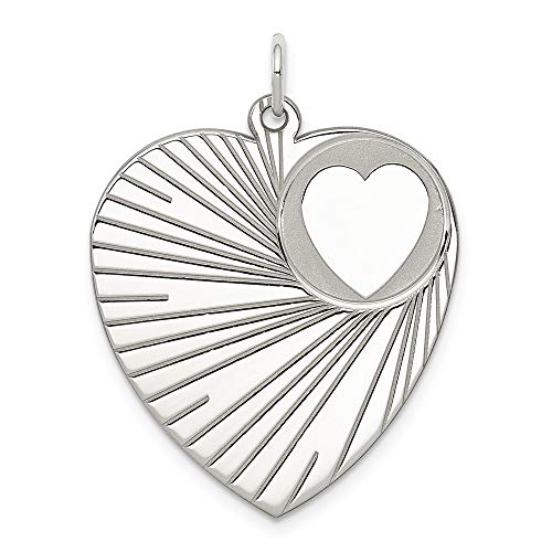 925 Sterling Silver Engraveable Heart Disc Pendant Charm Necklace Engravable Fine Jewelry Gifts For Women For Her