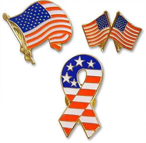 Patriotic American Flag and Ribbon 3-Piece Lapel or Hat Pin and Tie Tack Set with Clutch Back by Novel Merk