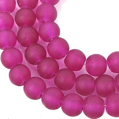 ShopForAllYou Decoration Beads 50 Czech Frosted Sea Glass Round/Rocaille Beads - Matte - Cerise/Fuchsia 6mm