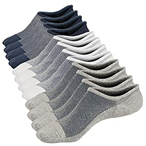 Mens No Show Low Cut Non Slip Socks - 6 Pack Casual Crew Ankle Mesh Knit Cotton Socks