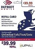 Patriot Mobile Prepaid Airtime Refill Card - $39.99 ReUp Airtime Card