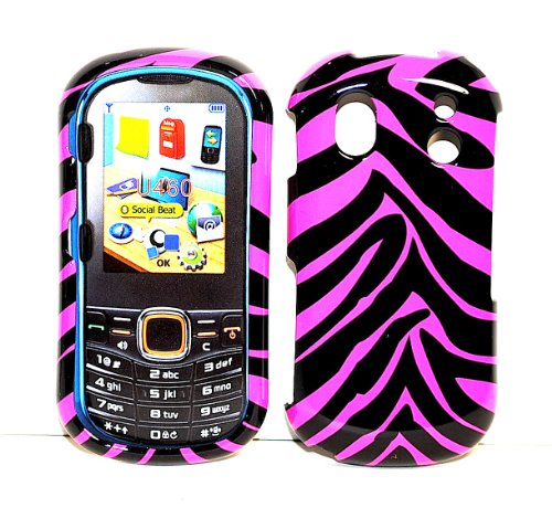 - Pink Black Strips Snap on Hard Protective Cover Case for Samsung Intensity 2 U460