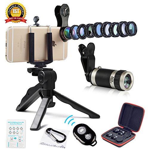 Cell Phone Camera Lens Kit by Ailuki with Professional Telephoto Lens,Wide Angle Lens+Macro Lens+Fisheye Lens, Selfie Remote Control+Tripod for iPhone Samsung Galaxy Most of Smartphone and iPad from AILUKI