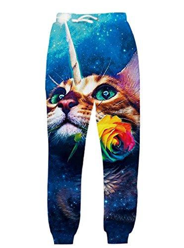 te Cat Galaxy Dance Pants Unisex Hiphop Jogger Sweatpants Cat Biting a Rose X-Large ()