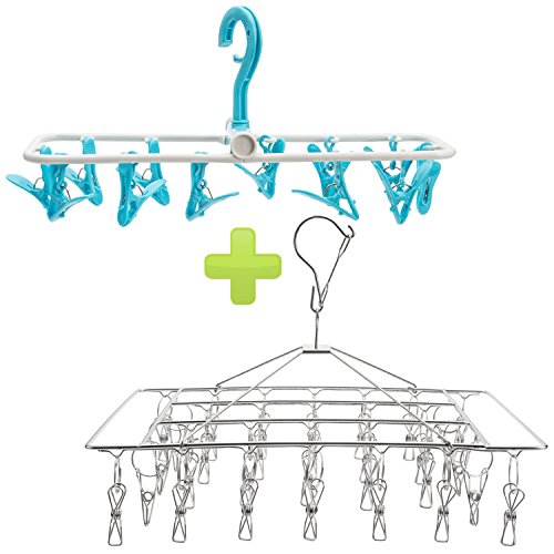 Stainless Steel Hanging Drying Rack with 28 Wire Clothespins