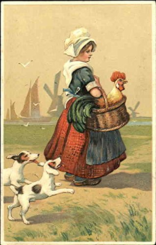 - Dutch girl carrying a rooster in a basket Dutch Children Original Vintage Postcard