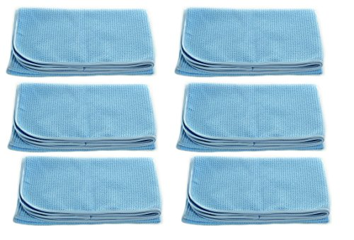 Real Clean Professional Grade Premium Ultra-Microfiber Extra Thirsty Big Blue Automotive Drying Towel 25''x 36'' Chemical and Water Safe Material (6 Pack) by Real Clean