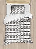 Lunarable Cream Duvet Cover Set Twin Size, Moroccan Style Trellis Pattern with Geometric Design Arabian Oriental Retro Inspired, Decorative 2 Piece Bedding Set with 1 Pillow Sham, Grey Beige