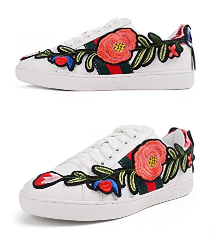 QZUnique Wearable Students amp; Non Roses With Elegant Slip Womens Embroidered Shoes White White Flat rEx1r7w4qP