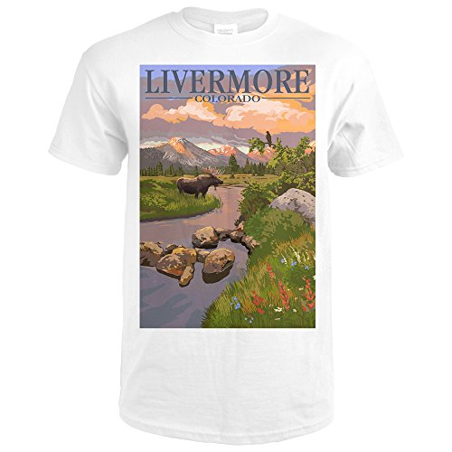 Livermore, Colorado - Moose and Mountain Stream at Sunset (Premium White T-Shirt - Livermore Premium